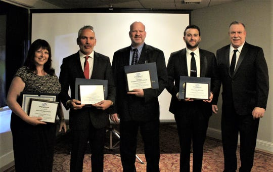 (From left) Melanie Druziako of Tri-County Rotary Club, Caleb Sotoof DeSoto Jewelers, John Heery of Corning Pharmaceutical Glass, and William Gruccio, president of Renati Solutions, who are joined by Chris Volker, executive director, Boys & Girls Club of Vineland, were recognized with Community Awards during the club's 15thAnniversary Gala and Masquerade Ball.