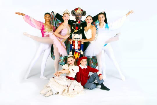 "(Back row, from left) Logan Littleton as Prince, Nicole Cullis as Sugar Plum Fairy, Leonardo Luciano as Rat King, Jessenia Rivera as Snow Queen and Jaden Shepard as Snow King; and (sitting) Frieda Nichols as Clara and Cyrus Safonof as Fritz, will dance in this year's production of ""The Nutcracker Ballet"" by the Vineland Regional Dance Company."