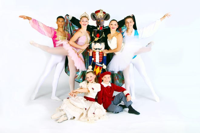 """(Back row, from left) Logan Littleton as Prince, Nicole Cullis as Sugar Plum Fairy, Leonardo Luciano as Rat King, Jessenia Rivera as Snow Queen and Jaden Shepard as Snow King; and (sitting) Frieda Nichols as Clara and Cyrus Safonof as Fritz, will dance in this year's production of """"The Nutcracker Ballet"""" by the Vineland Regional Dance Company."""