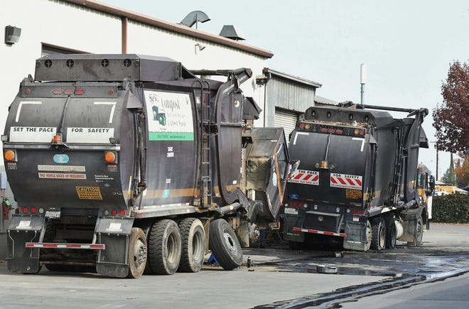 A garbage truck caught fire and injured on employee at Visalia's corporation yard on Nov. 15, 2019.