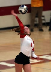 Red Hook's Maddie Boucher plays during the girls volleyball Class B regional semifinal at Kingston High School Nov. 14, 2019.