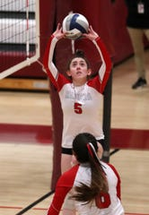 Red Hook's Mackenzie Wade plays in the girls volleyball Class B regional semifinal at Kingston High School Nov. 14, 2019.