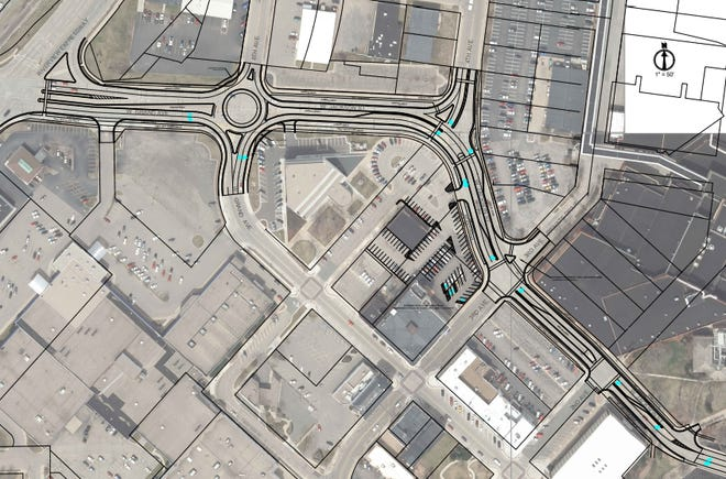 The city has proposed constructing a roundabout along W. Jackson Avenue.