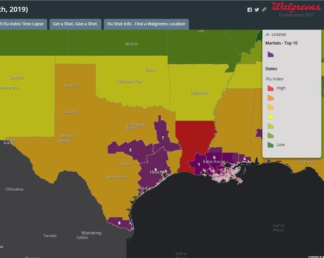 A flu index by Walgreen's pharmacies shows Texas and Louisiana are being hit hard this flu season.