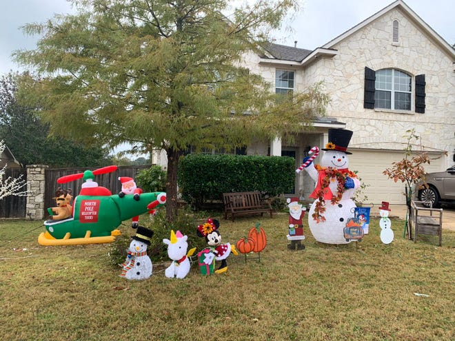 The Simonis family home, filled with Christmas decorations.