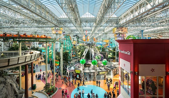 "With 500-plus stores, an aquarium, an indoor Nickelodeon amusement park and two attached hotels, Bialow says Minnesota's Mall of America is a ""real destination shopping center with everything under one roof."""