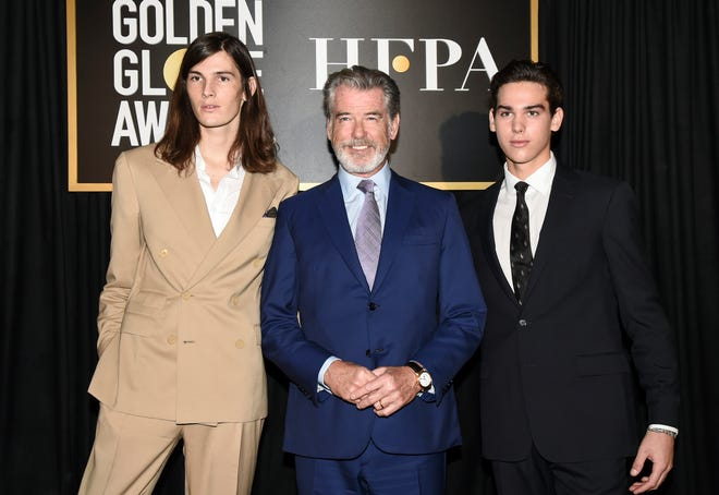 Pierce Brosnan's sons Dylan, left, and Paris are the 2020 Golden Globe Ambassadors.