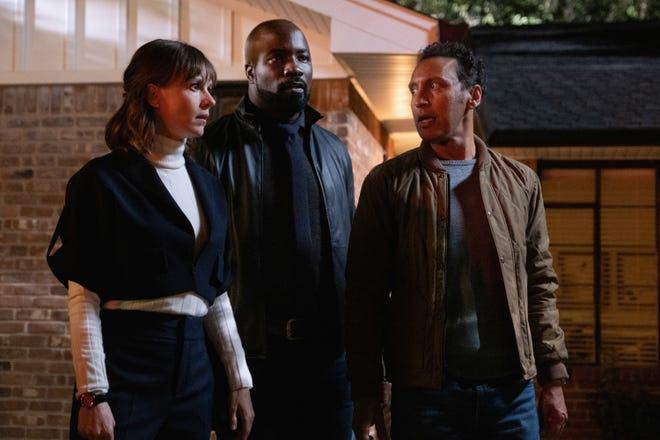 "Katja Herbers as Kristen Bouchard, Mike Colter as David Acosta and Aasif Mandvi as Ben Shakir on ""Evil."""