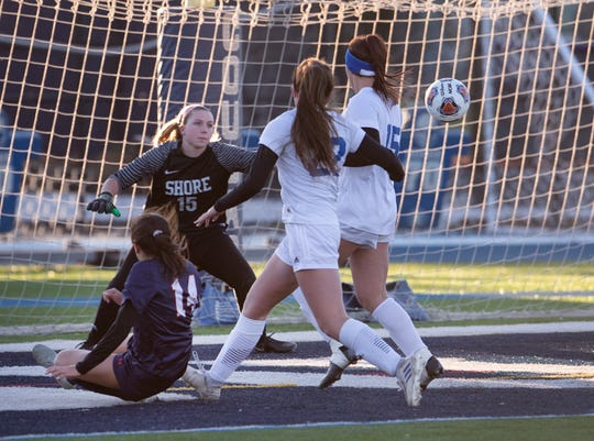 Mountain Lakes Kimmi Klingener unleashes a shot across net for one of her first half goals. Shore Regional girls soccer vs. Mountain Lakes in the NJSIAA Group I State Final in Union, NJ on November 16, 2019.