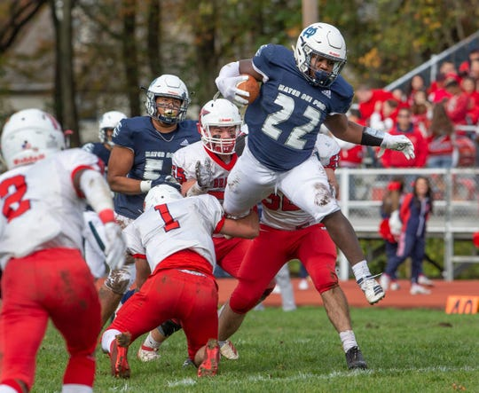 Mater Dei Prep senior running back Malik Ingram, shown running the ball Nov. 2 against Manalapan, had a big game Saturday in the Seraphs' 49-14 win over Pope John in a NJSIAA nonpublic Group III quarterfinal.