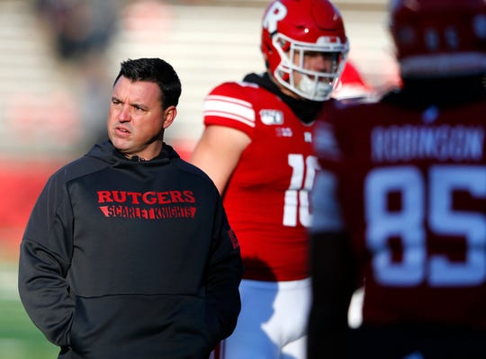 Nov 16, 2019; Piscataway, NJ, USA; Rutgers Scarlet Knights head coach Nunzio Campanile looks on during warm ups before a game against the Ohio State Buckeyes at SHI Stadium. Mandatory Credit: Noah K. Murray-USA TODAY Sports