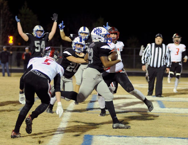 Nate Henderson crosses into the end zone late in the first half of Polk County's 41-21 win over East Wilkes