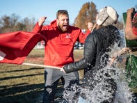 Colon students dump water on Athletic Director Paige Smolarz during the 8-player Division 1 state semifinal on Saturday, Nov. 16, 2019 at Colon High School in Colon.