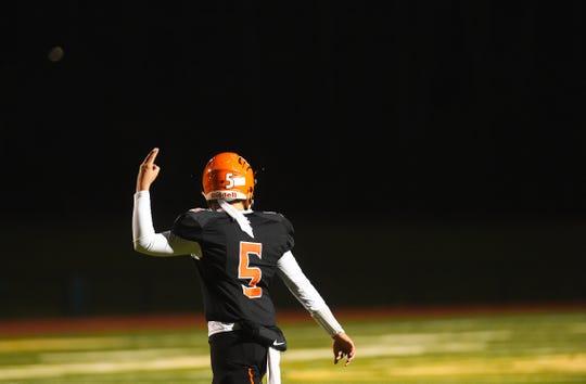 Union-Endicott quarterback Zach Pilarcek (5) during the second half of Carthage vs. Union-Endicott, Class A regional football, Vestal High School, Friday, November 15, 2019.