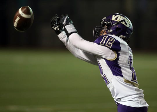 A catch is just out of North Kitsap's Lincoln Castillo's grasp against Archbishop Murphy on Friday, November 15, 2019 at Everett Memorial Stadium.
