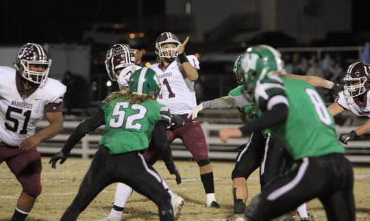 Owen junior quarterback Caleb Scott threw 3 touchdown passes on Nov. 15, as the Warhorses advanced to the second round of the playoffs for the first time since 2014 with a 27-7 victory over West Stanly.