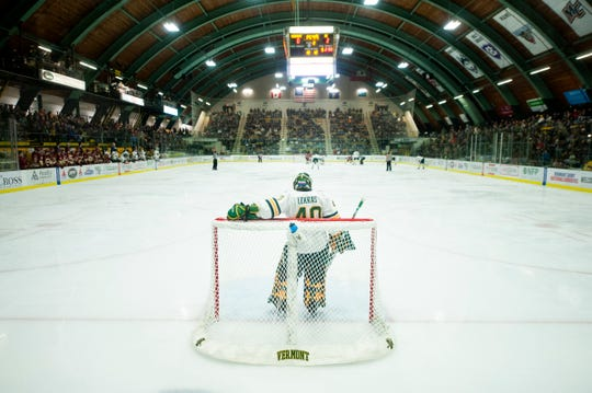 Vermont goalie Stefanos Lekkas (40) watches the action at the other end of the ice during the men's hockey game between the Boston College Eagles and the Vermont Catamounts at Gutterson Field House on Friday night November 15, 2019 in Burlington, Vermont.