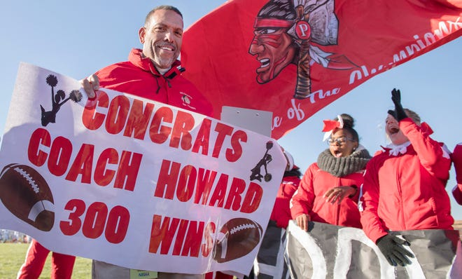 Paulsboro High School football coach Glenn Howard is honored for his 300th win after Paulsboro defeated Gateway, 28-8, in the South Jersey Group 1 semi-final game played at Paulsboro High School on Saturday, November 16, 2019.