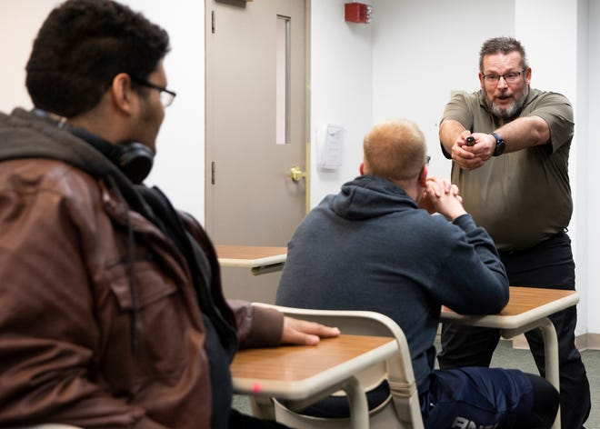 Chillicothe Police Department Detective Bud Lytle leading a classroom instruction at Ohio University Chillicothe regarding what to do if one is confronted or put into a situation where an active shooter could be present in 2019.