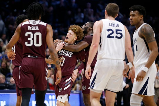Missouri State Bears guard Tyrik Dixon (0) reacts after being assessed a technical foul in the second half of the NCAA basketball game between the Xavier Musketeers and the Missouri State Bears at the Cintas Center in Cincinnati on Friday, Nov. 15, 2019. Xavier remained undefeated with a 59-56 win.