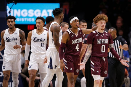Missouri State Bears guard Tyrik Dixon (0) reactants after a technical foul in the first half of the NCAA basketball game between the Xavier Musketeers and the Missouri State Bears at the Cintas Center in Cincinnati on Friday, Nov. 15, 2019.