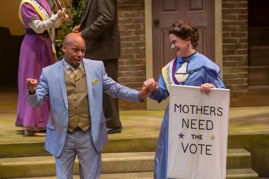 """Sylvester Little Jr. (left) and Jennifer Joplin are featured in Cincinnati Shakespeare's production of """"The Merry Wives of Windsor,"""" which runs through Dec. 7, 2019."""