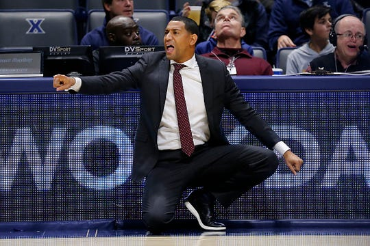 Missouri State Bears head coach Dana Ford calls to his offense in the second half of the NCAA basketball game between the Xavier Musketeers and the Missouri State Bears at the Cintas Center in Cincinnati on Friday, Nov. 15, 2019. Xavier remained undefeated with a 59-56 win.