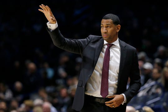 Missouri State Bears head coach Dana Ford directs his defense in the first half of the NCAA basketball game between the Xavier Musketeers and the Missouri State Bears at the Cintas Center in Cincinnati on Friday, Nov. 15, 2019.