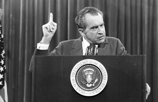 "President Richard Nixon speaks near Orlando, Florida, to the Associated Press Managing Editors annual meeting, Nov. 17, 1973.  Nixon told the APME ""I am not a crook."""