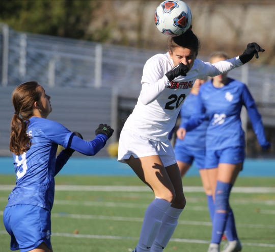Corinna Zullo of Hunterdon Central heads the ball in the first half during their win over Scotch Plains in the Group 4 Championship at Kean University on November 16, 2019.