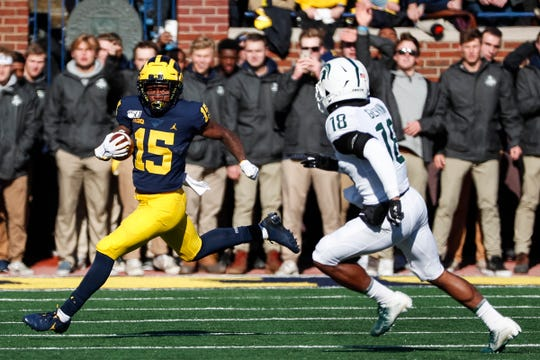 Michigan receiver Giles Jackson runs against Michigan State during the first half at Michigan Stadium on Saturday, Nov. 16, 2019.