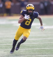 Michigan wide receiver Ronnie Bell runs with the ball during the first half on Saturday, Nov. 16, 2019, at Michigan Stadium.
