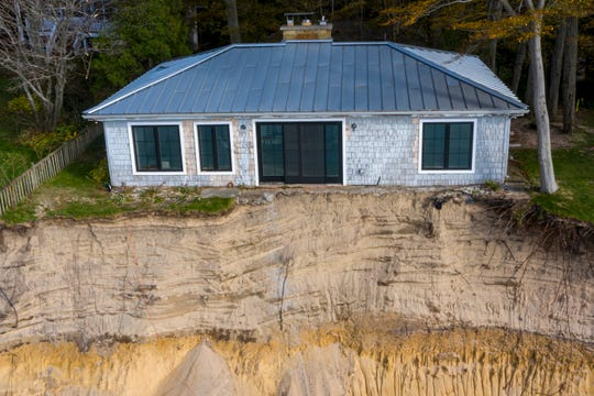 Significant Lake Michigan erosion threatens properties along Lakeshore Avenue in Park Township, Michigan, on Friday, Oct. 25, 2019.