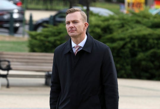 David Holmes, a career diplomat and the political counselor at the U.S. Embassy in Kyiv, Ukraine, arrives on Capitol Hill, Friday, Nov. 15, 2019, in Washington, to testify before congressional lawmakers as part of the House impeachment inquiry into President Donald Trump.