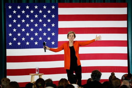 Democratic presidential candidate Sen. Elizabeth Warren speaks during a town hall meeting at Grinnell College, in Grinnell, Iowa on Nov. 4, 2019.