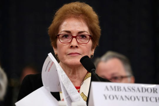 Former U.S. Ambassador to Ukraine Marie Yovanovitch testifies before the House Intelligence Committee on Capitol Hill in Washington, Friday, Nov. 15, 2019, during the second impeachment hearing of President Donald Trump.