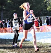Kelsey Young of Deposit-Hancock takes 13th in the Class D girls race at the state championship meet Nov. 16, 2019 at SUNY Plattsburgh.