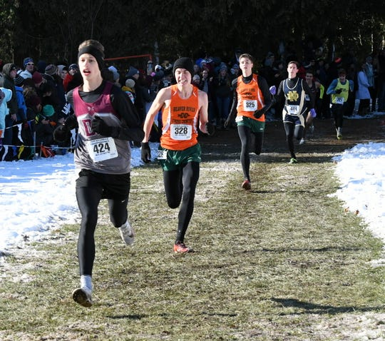Jonathon Hadley of Delhi runs to 12th place in the Class D boys race at the New York state championship meet Nov. 16, 2019 at SUNY Plattsburgh.