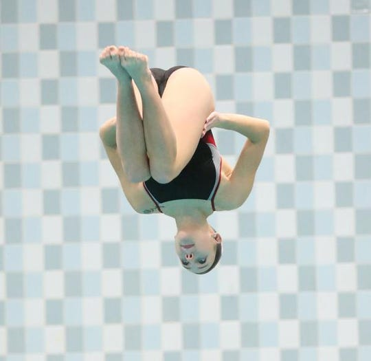 Neenah High School's Av Osero dives Saturday, November 16, 2019 during the Division 1 WIAA state diving and swimming meet in Madison, Wis. Doug Raflik/USA TODAY NETWORK-Wisconsin