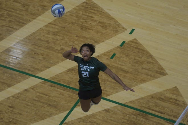 Colorado State volleyball player Jessica Jackson fires a shot during a win over Boise State at Moby Arena on Saturday, Nov. 16, 2019.