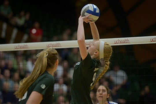 Colorado State volleyball player Ciera Zimmerman sets during a win over Boise State at Moby Arena on Saturday, Nov. 16, 2019.
