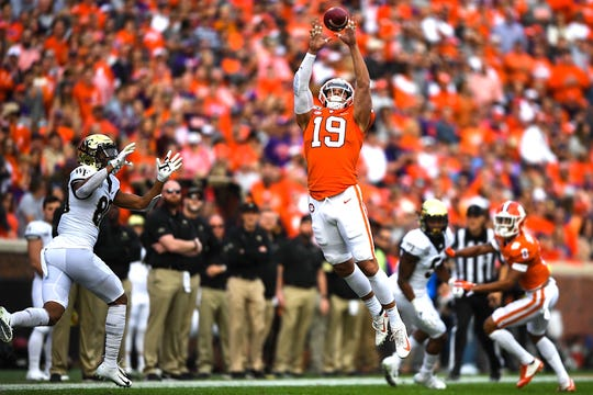Clemson safety Tanner Muse (19) intercepts Wake Forest during the first quarter on Saturday, Nov. 16, 2019.