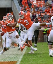 Clemson defensive back A.J. Terrell (8) returns an interception during the second quarter at Memorial Stadium in Clemson, South Carolina Saturday, November 16, 2019.