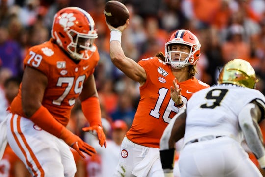 Clemson quarterback Trevor Lawrence (16) attempts to throw the ball during their game against Wake Forrest Saturday, Nov. 16, 2019.