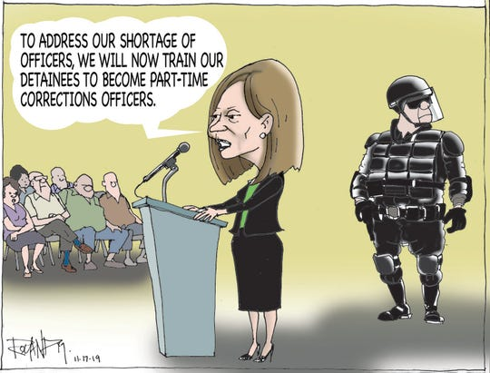 Sunday cartoon on Department of Corrections problems.
