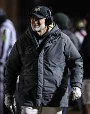 Mt. Vernon's head coach Mike Kirschner in the second half of the regional final game against Roncalli at Mt. Vernon High School in Fortville, Ind., Friday, Nov. 15, 2019.