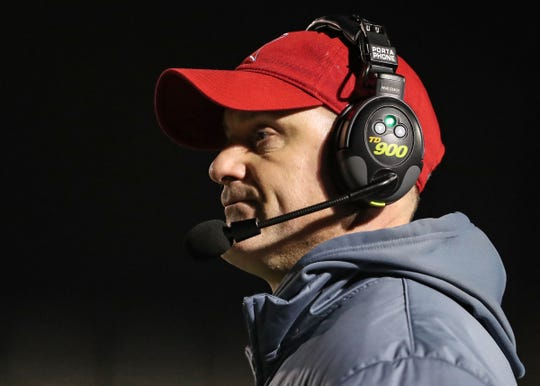 Roncalli's head coach Scott Marsh in the first half of the regional final game against Mt. Vernon at Mt. Vernon High School in Fortville, Ind., Friday, Nov. 15, 2019.