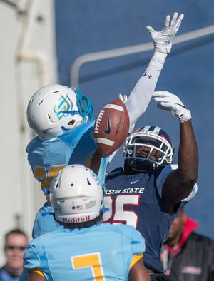Southern's #20 Datrel Brunfield breaks up a pass to JSU's #25 Daniel Crowell during the first quarter of play at Veterans Memorial Stadium In Jackson Saturday, Nov. 16, 2019. The SWAC rivals battled it out in the first half, but Southern took over the second half beating JSU with a score of 40-34.