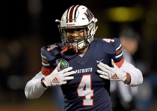 MRA's Joe Perkins (4) celebrates his touchdown against Oak Forest Academy on Friday, November 15, 2019, at Madison-Ridgeland Academy in Madison, Miss.