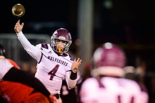 East Webster QB Steven Betts (4) drops back to pass during the MHSAA 2A playoff game against Pelahatchie in Pelahatchie,MS.